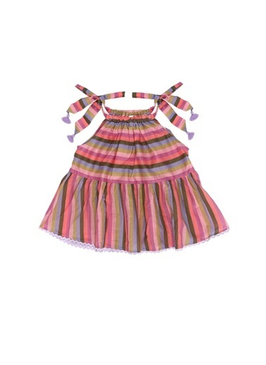 Zimmermann Zimmermann 101600371 Colorblocked Çizgili Pamuklu Kız Çocuk Bluz Pembe